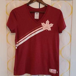 HBC Team Canada V-neck Tee (sz M, red)